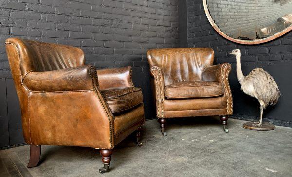 Paar brauner Leder Ralph Lauren Clubstühle