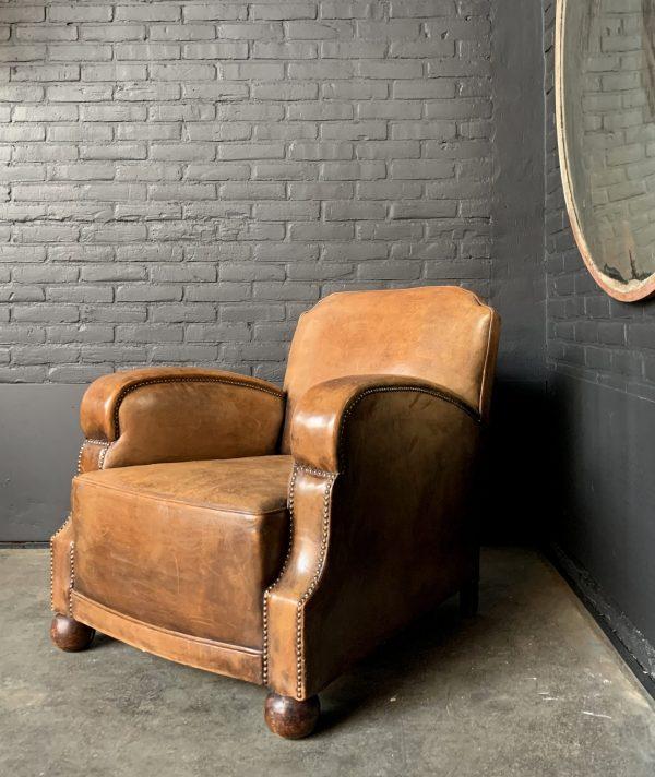 Art Deco Cognac Farbe Leder Club Stuhl