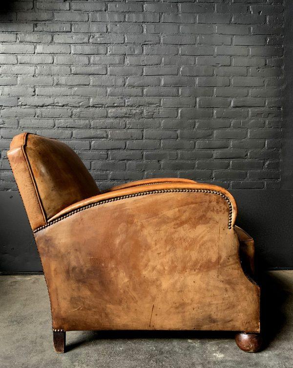 Art deco cognac kleur lederen club fauteuil