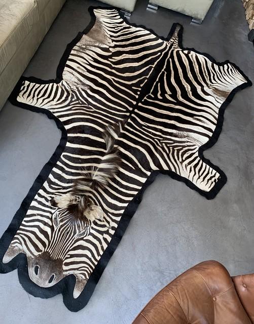 Beautiful zebra skin finished with thick felt.