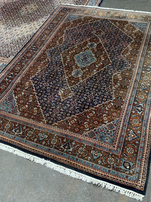 Handgeknoopt vintage wollen Herati perzisch tapijt, vloerkleed.