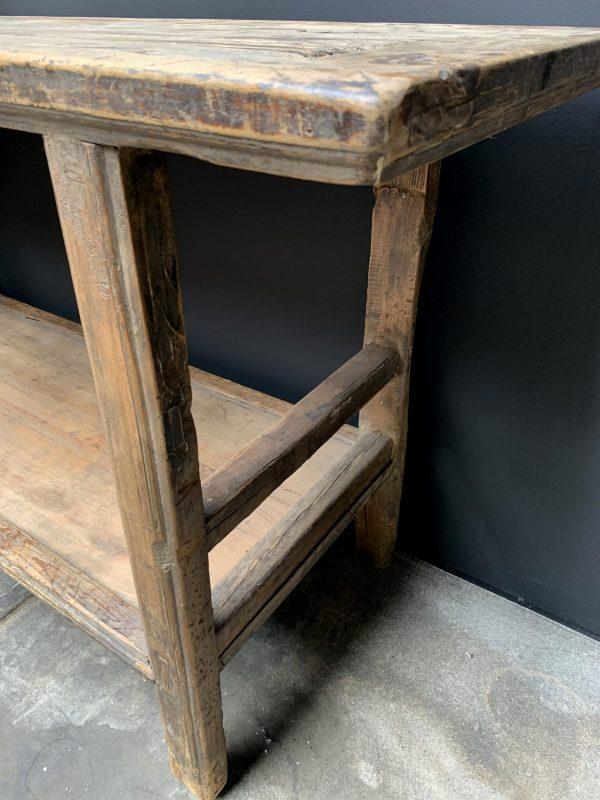 Antieke houten wandtafel met onderblad
