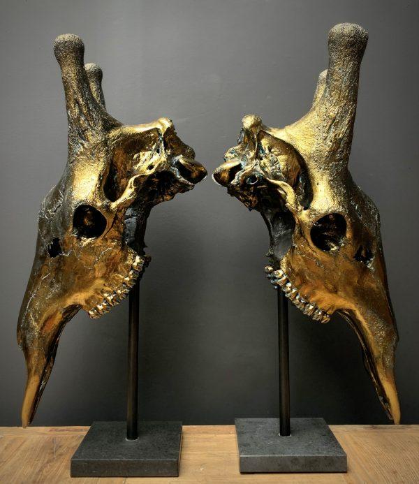 Set giraffe schedels verbronst.