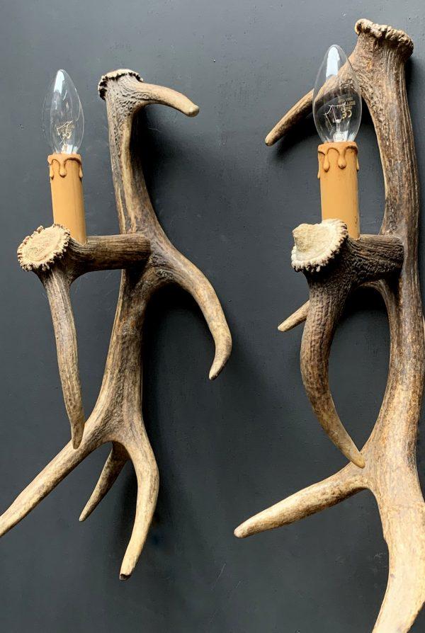 Geweilamp, Wandlamp van edelhert gewei (rechts)