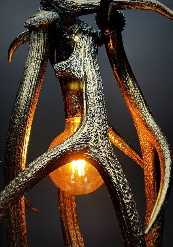 Koperen gewei hanglamp