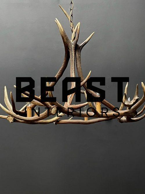 Round antler chandelier of red deer antlers