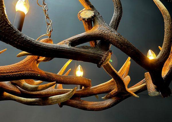 Lange design geweilamp met 3 spots