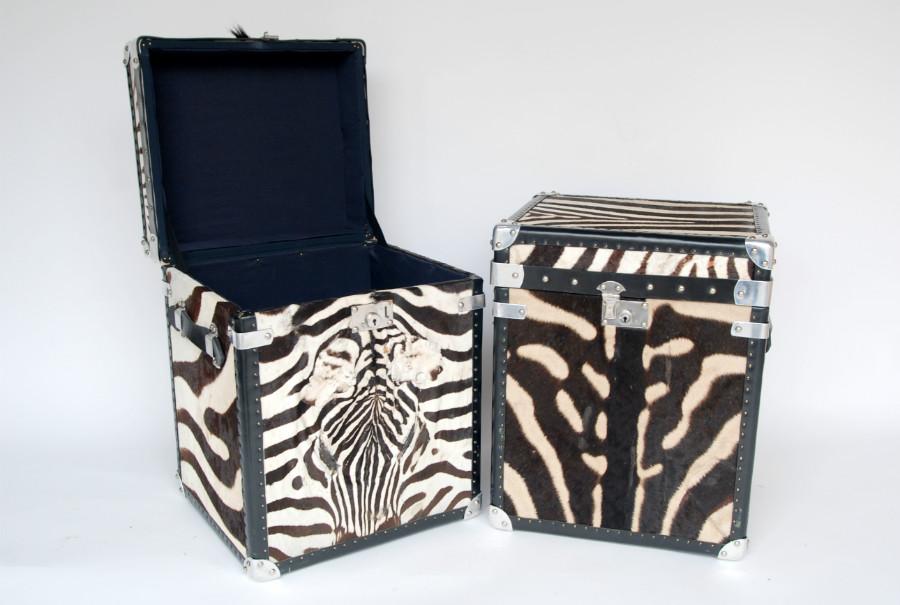 Kisten gemaakt van zebrahuid