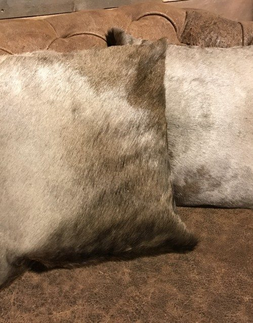 High-quality cushions made of blue wildebeest skin.