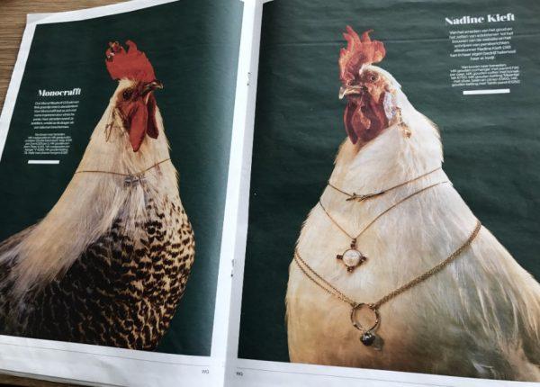 Opgezette kippen van de Jachtkamer in de krant