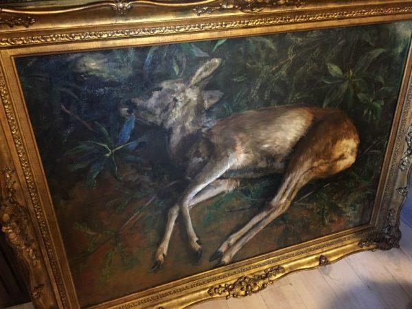 Schilderij jachttafereel, van Marie Elise