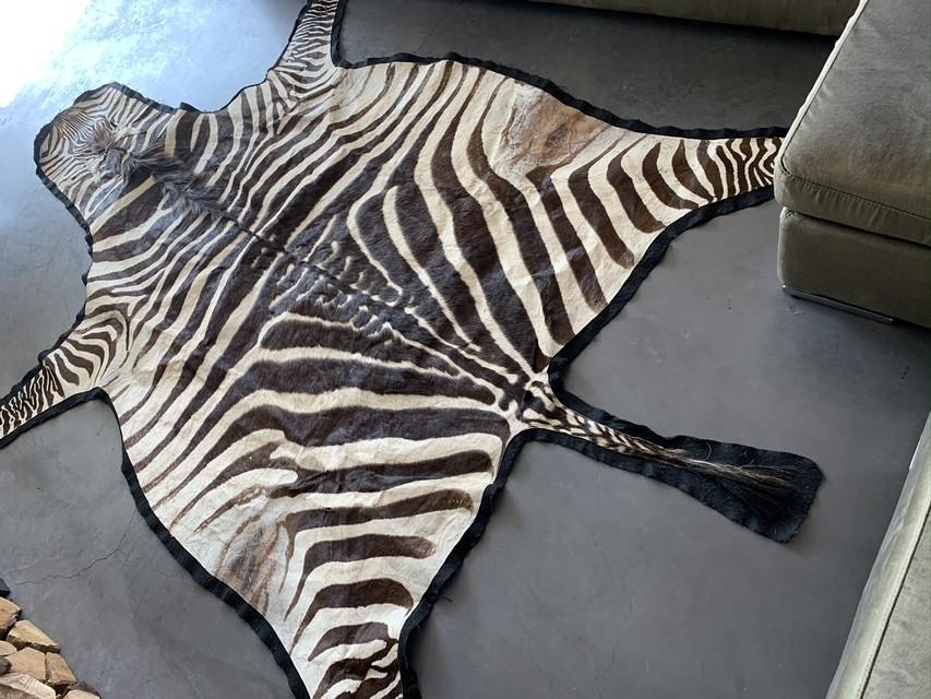 Vintage zebrahuid met vilt afgewerkt