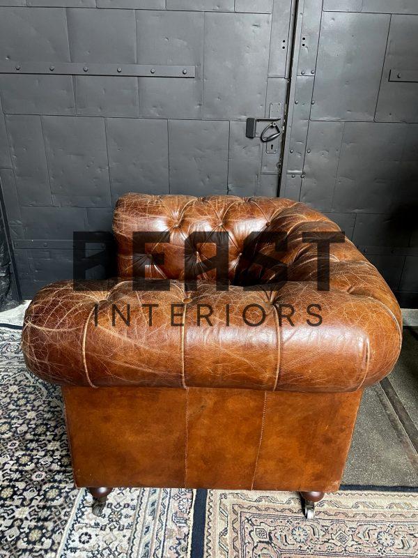 Vintage lederen Chesterfield fauteuil